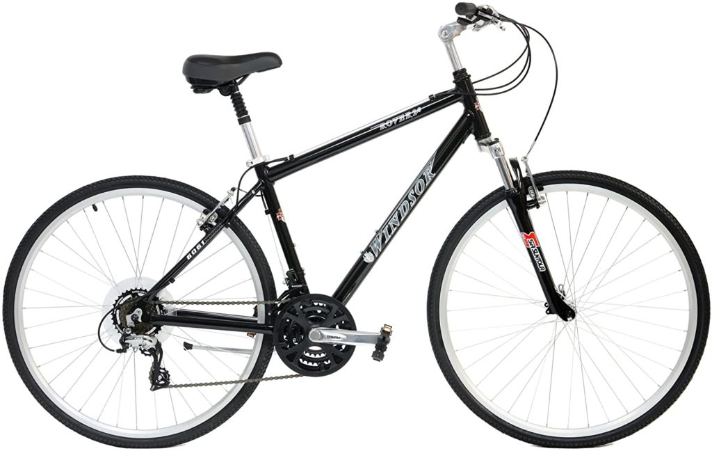 Windsor-Rover-2.0-Hybrid-700c-Comfort-Bike-21-Speed-with-Suspension-Fork-Flat-Bars-and-Comfort-Seat