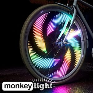 Monkey-Light-M232-Bike-Wheel-Lights-Great-Tire-Spoke-Light-Safety-Accessory-Full-Color-32-LED-Waterproof-Built-to-Last-AA-Battery-Assembled-in-USA-for-Front-and-Back-visible-for-Crusiers-and-Fixie