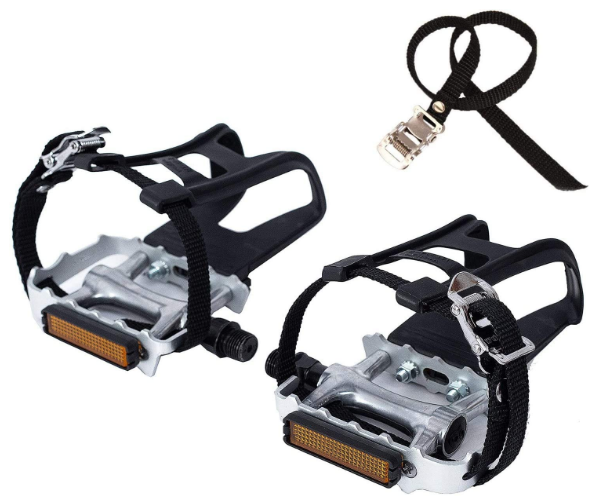 Fixed Gear Pedals: YBEKI Bike Pedals with Clips and Straps