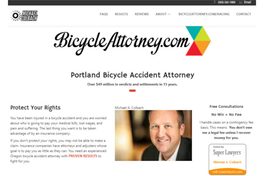 Bicycle Attorney Michael A. Colbach