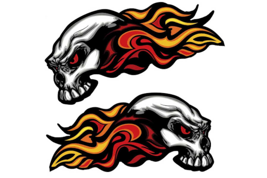 Bicycle Helmet Decals and Stickers - Skino Skull Head Fire Flames Scary Horror Decals